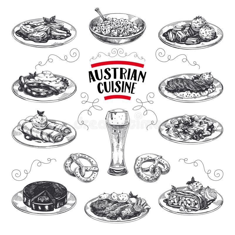 Beautiful vector hand drawn austrian cuisine Illustrations set. Detailed retro style images. Vintage sketch elements for labels, packaging and cards design stock illustration