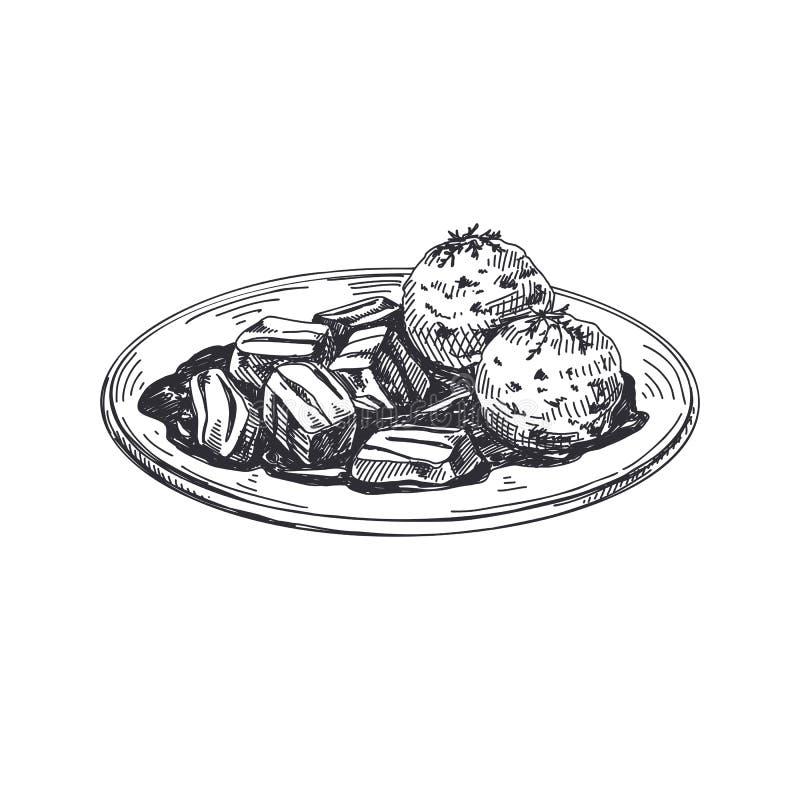 Beautiful vector hand drawn austrian food Illustration. royalty free illustration