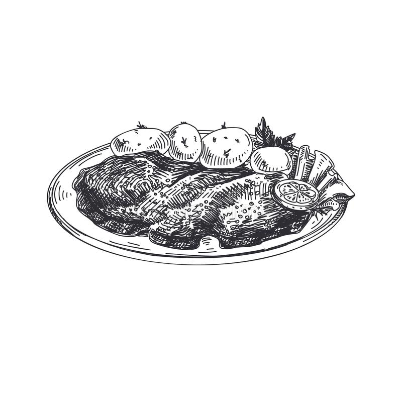 Beautiful vector hand drawn austrian food Illustration. Schnitzel. Beautiful vector hand drawn austrian food Illustration. Detailed retro style images. Vintage stock illustration