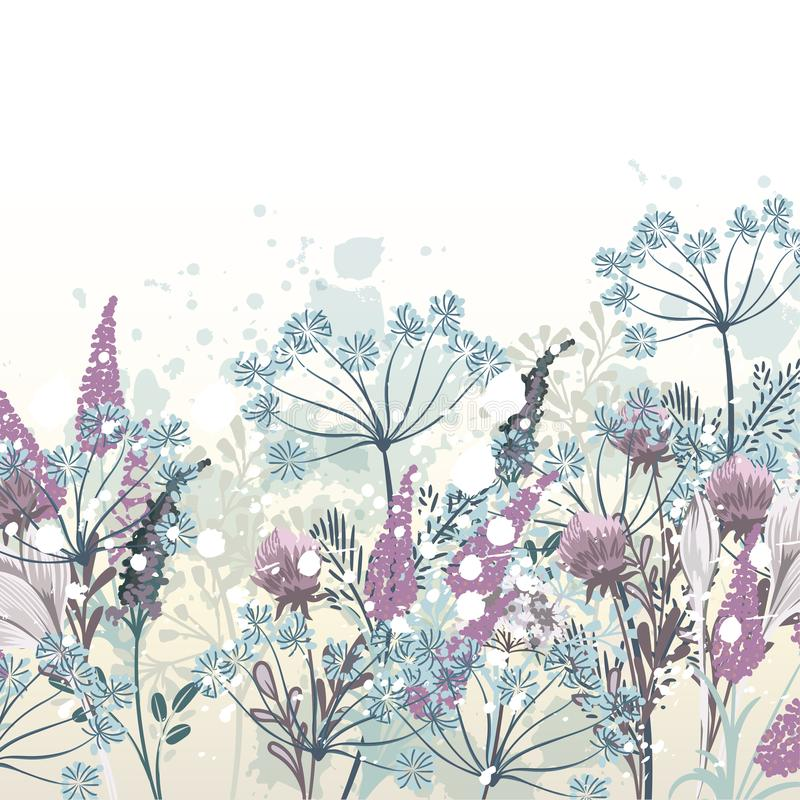 Beautiful vector hand drawn floral illustration for design royalty free illustration
