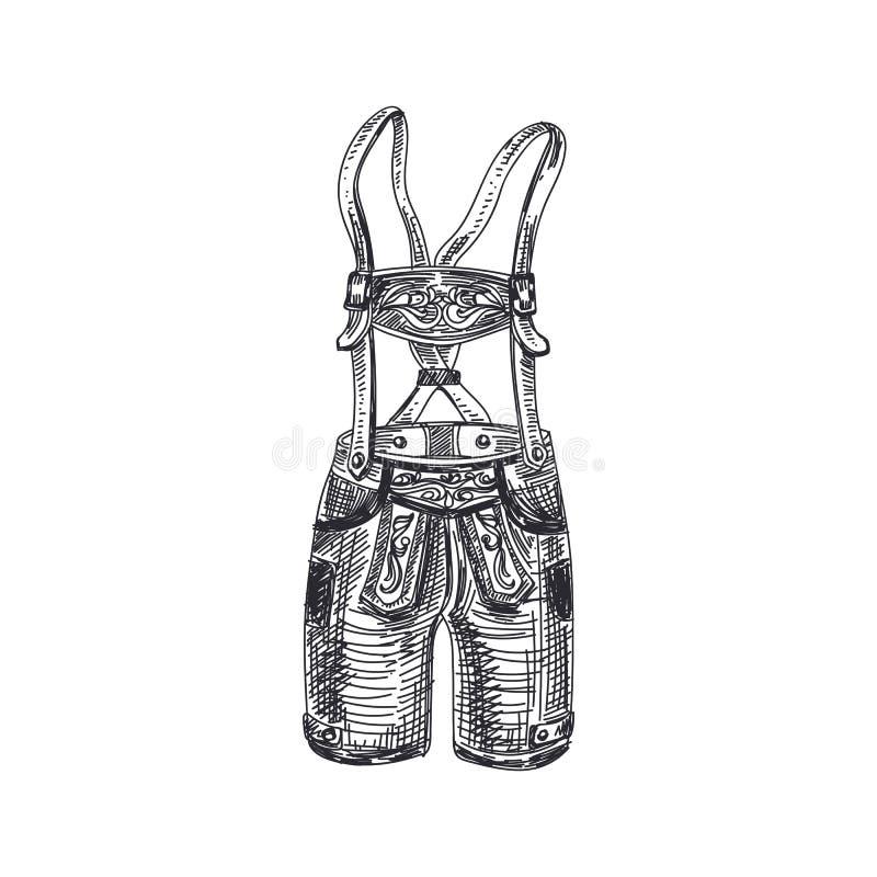 Beautiful vector hand drawn Illustration. Beautiful vector hand drawn Bavarian men`s traditional costume, leather pants Illustration. Detailed retro style vector illustration