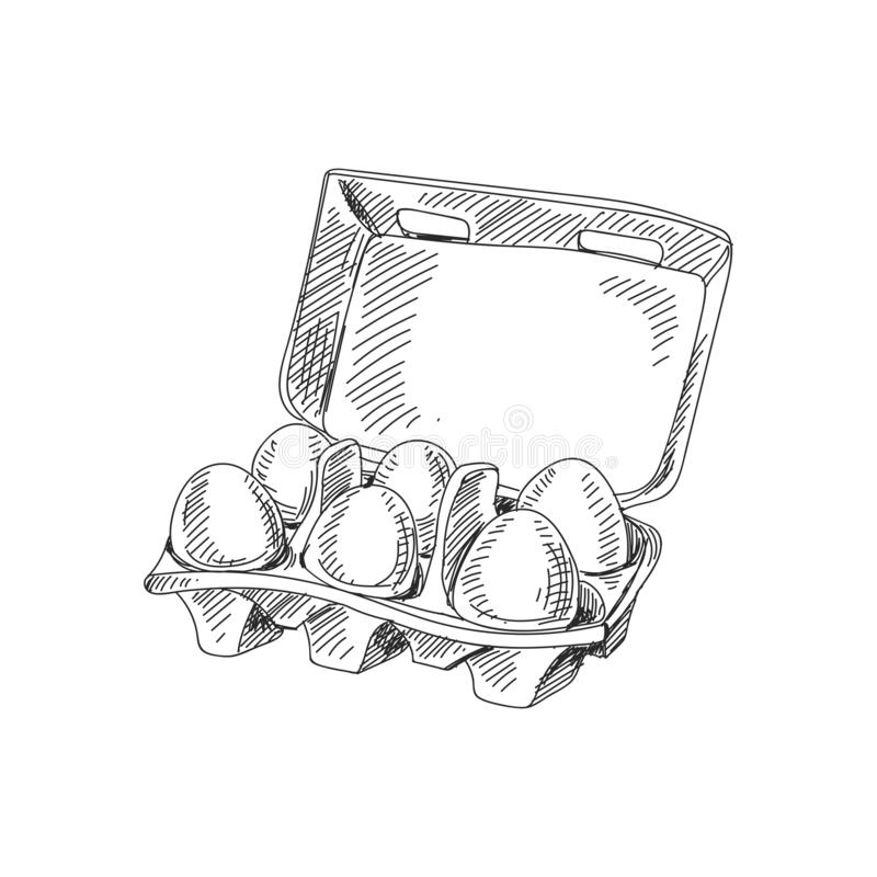 Beautiful vector hand drawn packaging with eggs Illustration. vector illustration