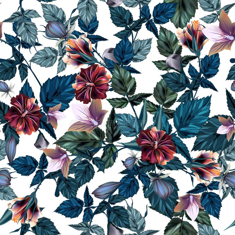 Beautiful vector hibiscus tropical pattern vector illustration