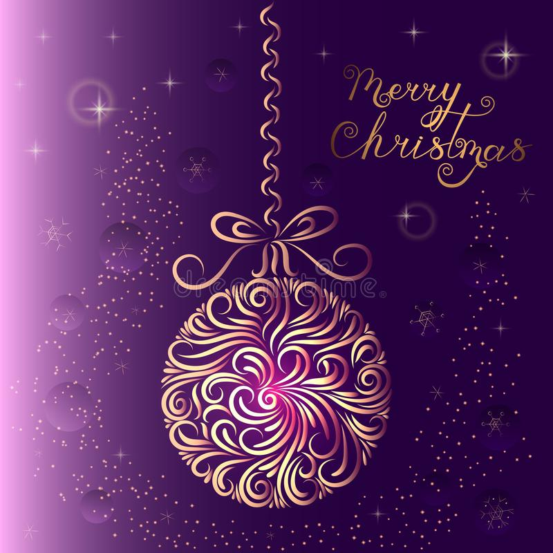 Christmas-tree decoration ball in purple colors. Ornament. New Year card. Congratulation. Celebration. Winter. Snowflakes. Stars. stock illustration