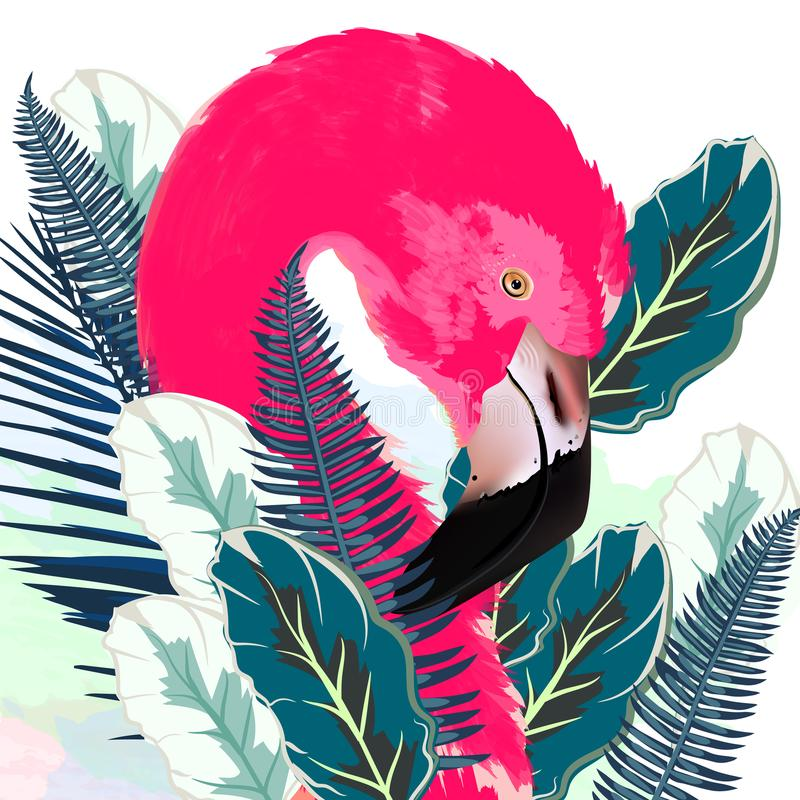 Beautiful vector illustration with drawn pink flamingo and palm royalty free illustration