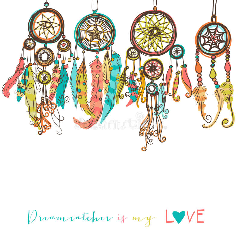 Beautiful vector illustration with dream catchers royalty free stock photo
