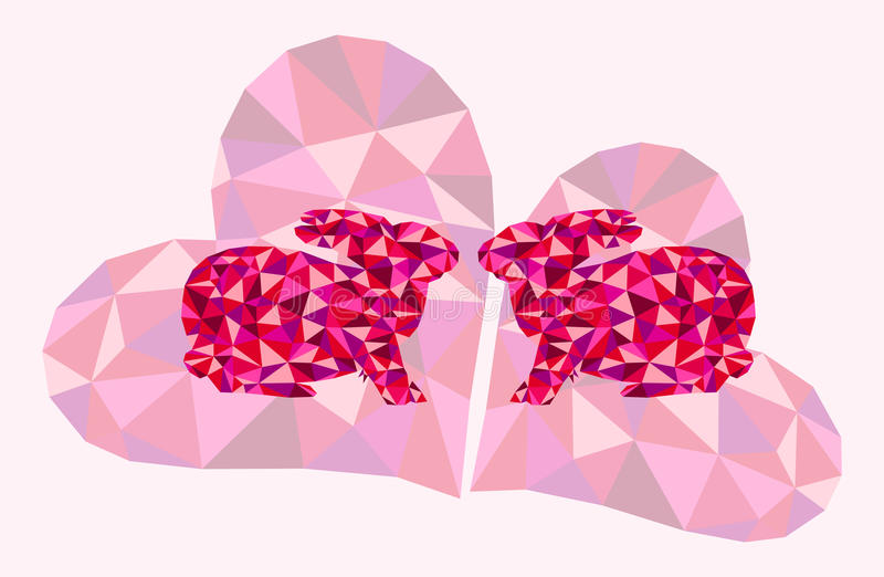 Beautiful vector illustration with kissing bunnies and geometrical triangle hearts - symbol of love. You can use it as a valentine's day background royalty free illustration
