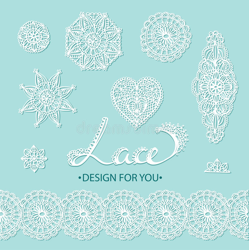 Beautiful vector lace elements - flowers, circles, heart and border. Vector illustration. stock illustration