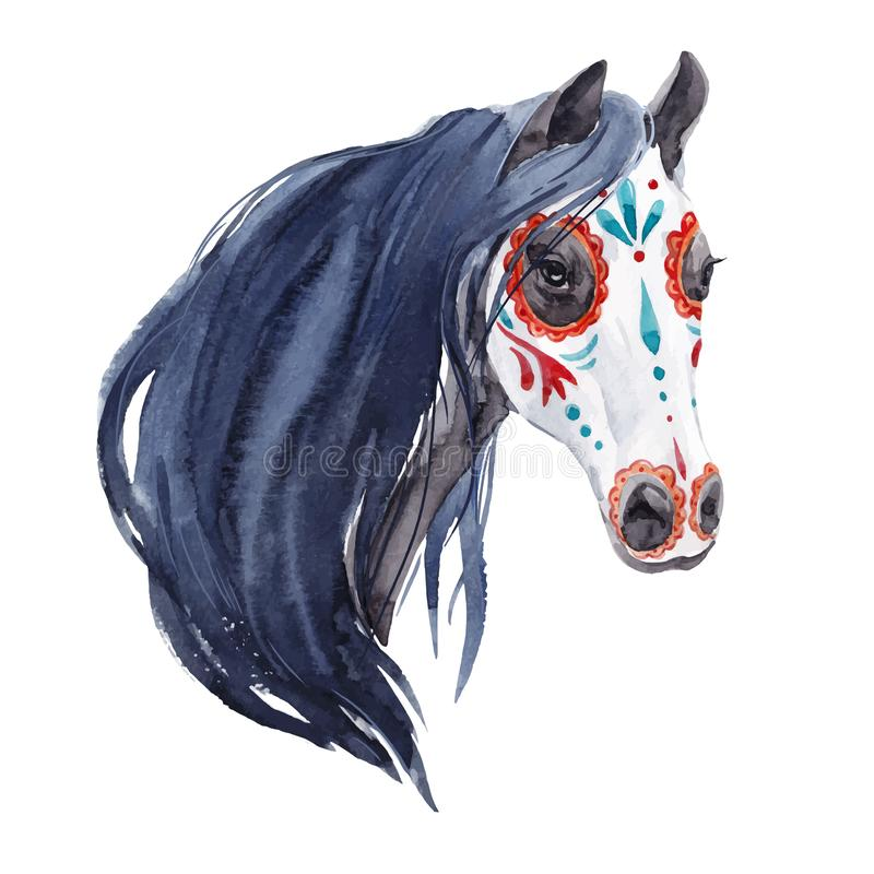 Watercolor horse vector portrait royalty free illustration