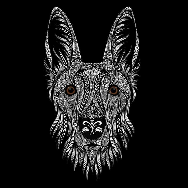 Beautiful vector portrait of a shepherd dog from patterns on a black background vector illustration