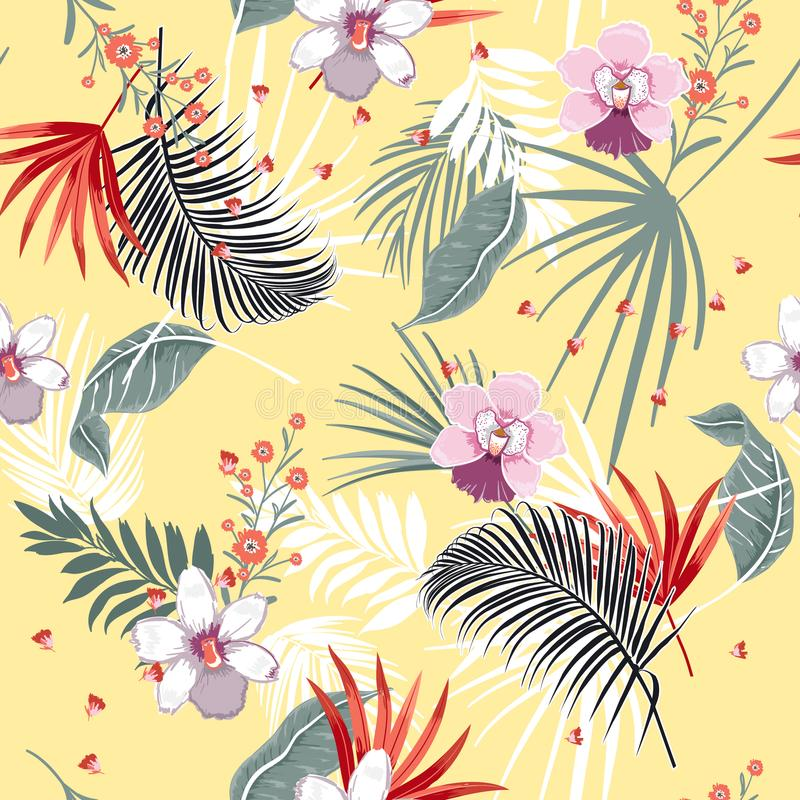 Beautiful vector seamless beautiful artistic Bright summer tropical pattern with exotic forest. Colorful original stylish floral vector illustration