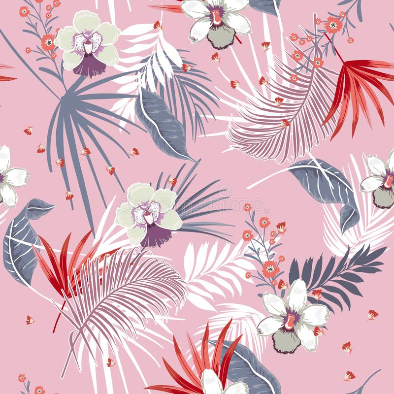 Beautiful vector seamless beautiful artistic Bright summer tropical pattern with exotic forest. Colorful original stylish floral stock illustration