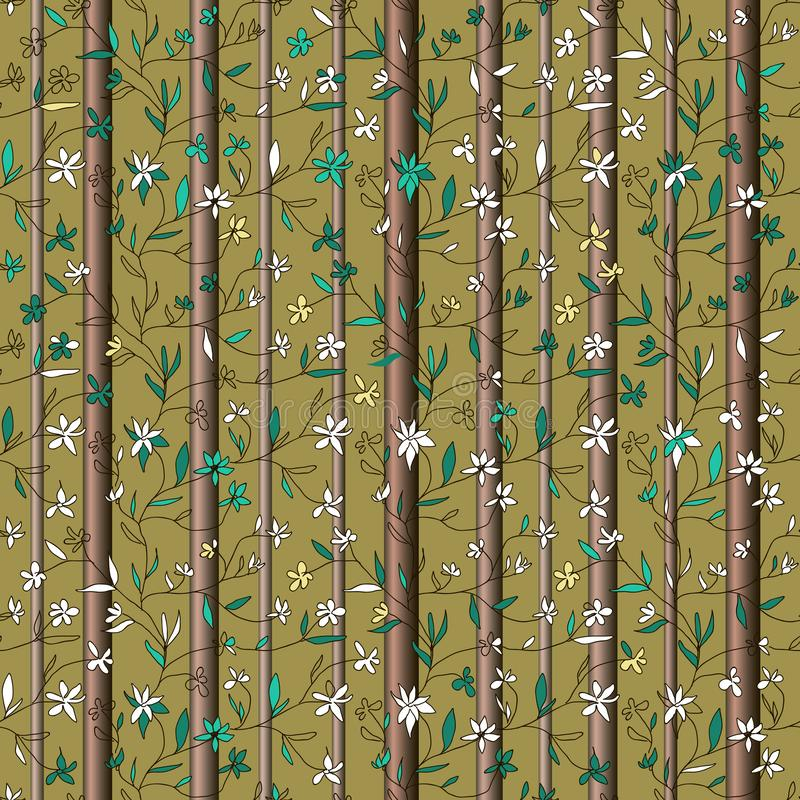 Hand drawn small flowers on branches with leaves and tree trunks on olive background vector illustration