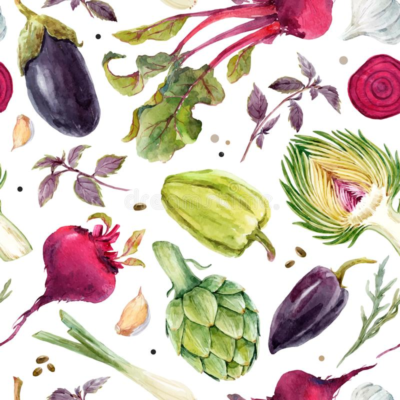 Watercolor vegetable vector pattern. Beautiful vector seamless pattern with hand drawn watercolor vegetables vector illustration