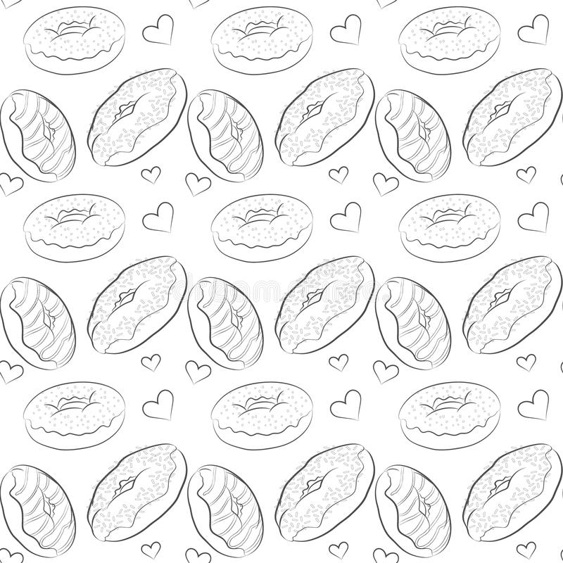 Beautiful vector seamless pattern with line drawn donuts. Beautiful vector seamless pattern with different contour donuts. Seamless vector food background royalty free illustration