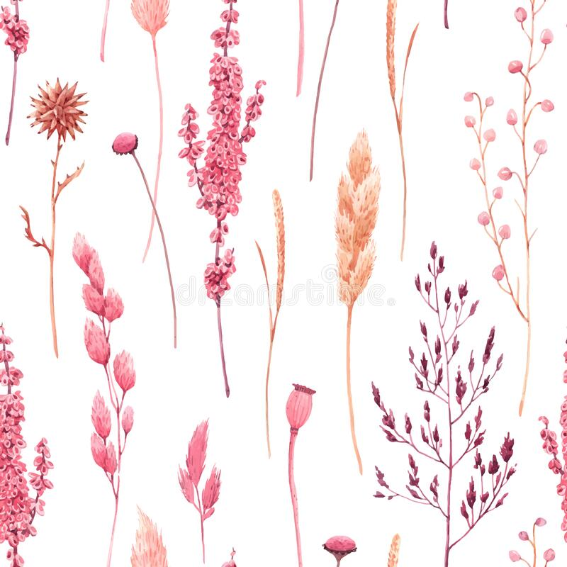 Free Beautiful Vector Seamless Pattern With Watercolor Herbarium Wild Dried Grass In Pink And Yellow Colors. Stock Stock Photo - 169979160