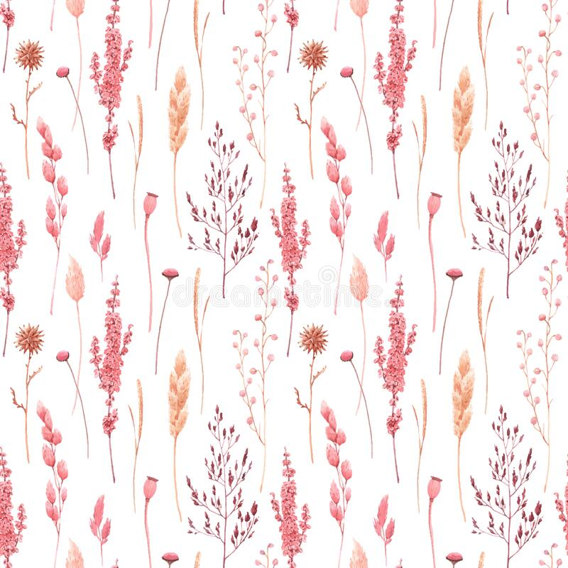 Free Beautiful Vector Seamless Pattern With Watercolor Herbarium Wild Dried Grass In Pink And Yellow Colors. Stock Royalty Free Stock Images - 169979269