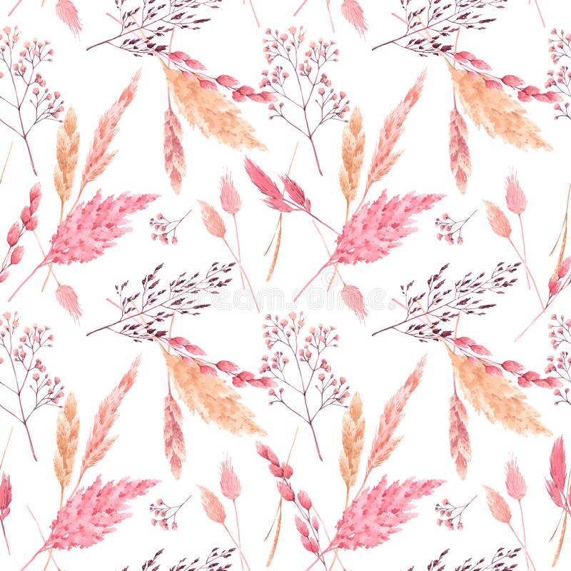 Free Beautiful Vector Seamless Pattern With Watercolor Herbarium Wild Dried Grass In Pink And Yellow Colors. Stock Royalty Free Stock Image - 170073236