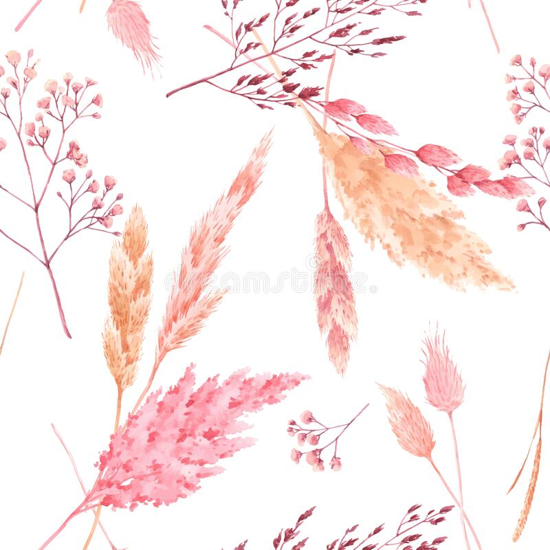 Free Beautiful Vector Seamless Pattern With Watercolor Herbarium Wild Dried Grass In Pink And Yellow Colors. Stock Stock Image - 170073251