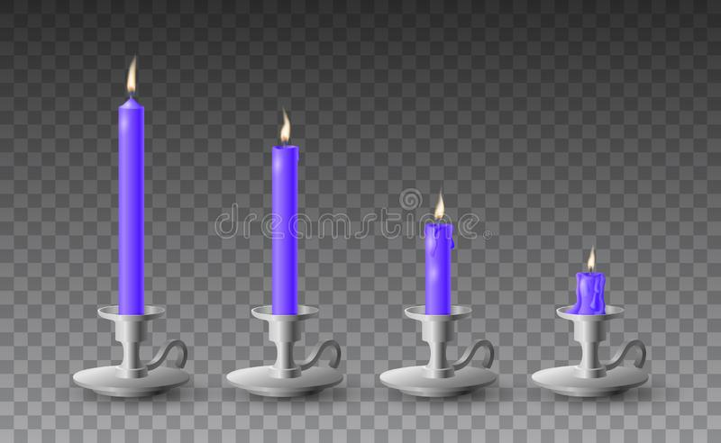 Beautiful vector set of gradually burned realistic purple candles on metal candlesticks on transparent background vector illustration