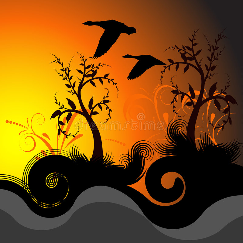 Beautiful vector sunset illust stock image