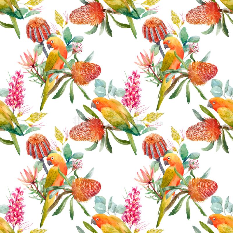 Watercolor tropical parrots vector pattern vector illustration