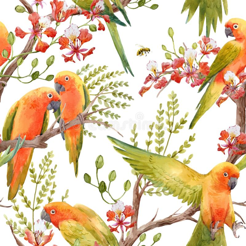 Watercolor tropical parrots vector pattern stock illustration