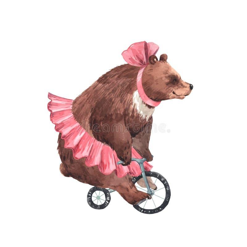 Watercolor vector circus bear stock illustration