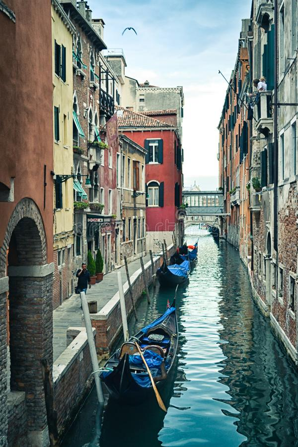 Beautiful venetian canal in summer day, Italy stock image