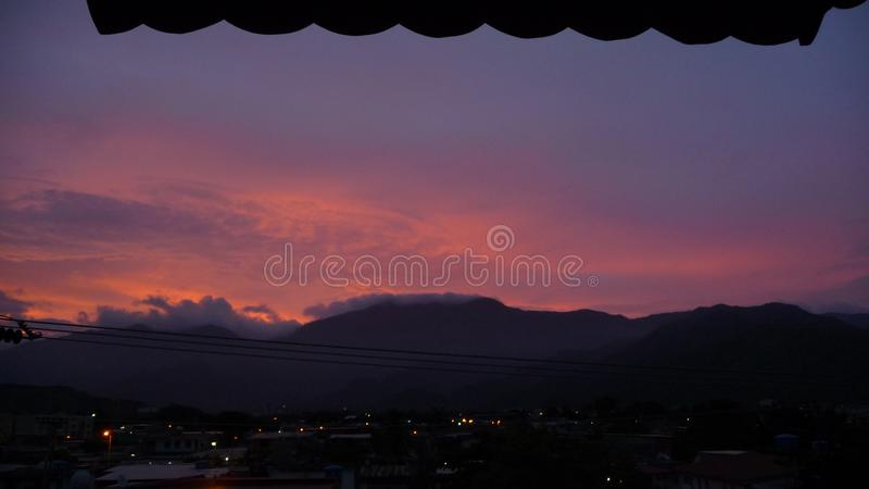 Beautiful Venezuelan sunset. There are very few things in life that fill me with calm like a reddish sunset. It really fills me with calm, no matter how hard the stock image