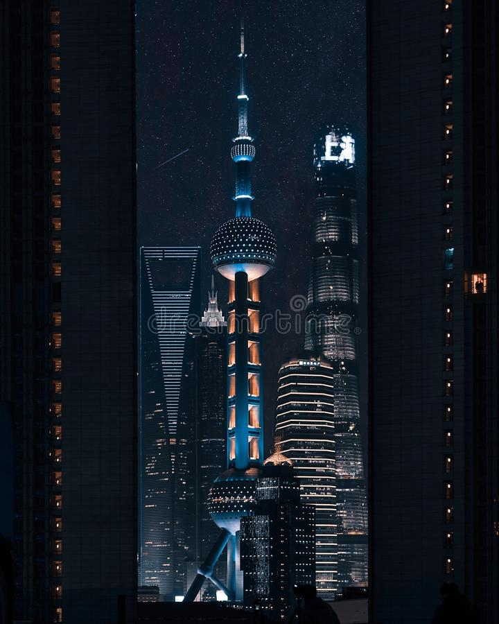 China Shanghai Scenery Wall Stickers Oriental Pearl Tv: Sunset At Oriental Pearl Tower Stock Image