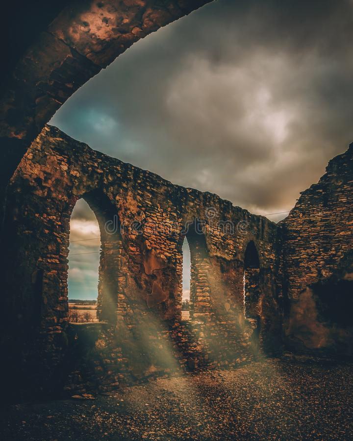 Beautiful vertical shot of a stone medieval viaduct. A beautiful vertical shot of a stone medieval viaduct stock photography