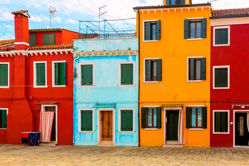 Beautiful vibrant colorful houses in Burano near Venice in Italy stock photo