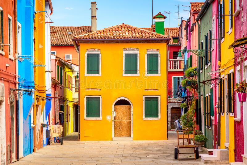 Beautiful vibrant colorful houses in Burano, near Venice in Italy stock images