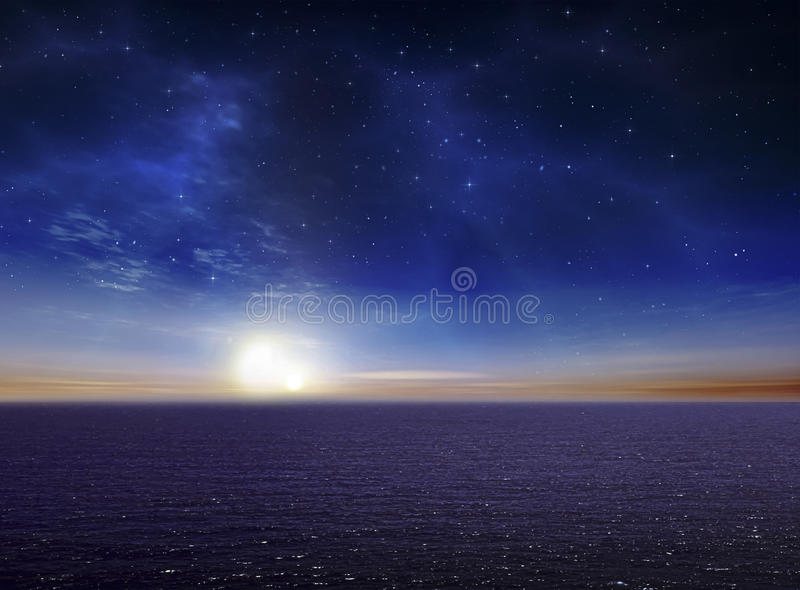Beautiful Vibrant Ocean night sky. And Star Background royalty free stock photo