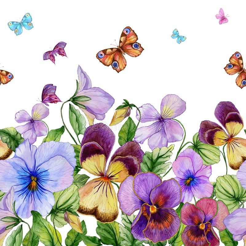 Beautiful vibrant violet flowers and colorful butterflies on white background. Seamless floral pattern. Watercolor painting. stock illustration