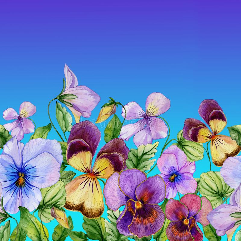Free Beautiful Vibrant Violet Flowers With Green Leaves On Blue Sky Background. Seamless Floral Pattern. Watercolor Painting. Royalty Free Stock Images - 138388869
