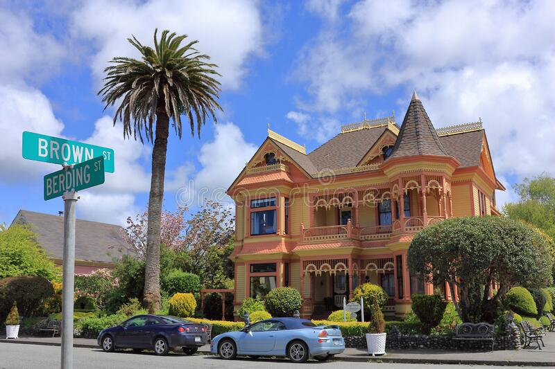 Victorian Architecture in the Historic Town of Ferndale in Humboldt County, Northern California, USA. Beautiful Victorian building at Brown and Berding Street in stock photos