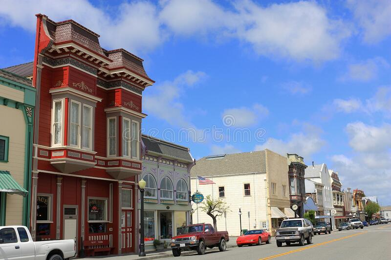 Main Street lined with Historic Buildings in Victorian Ferndale, Northern California, USA. Beautiful Victorian buildings line the main street of the charming stock photos