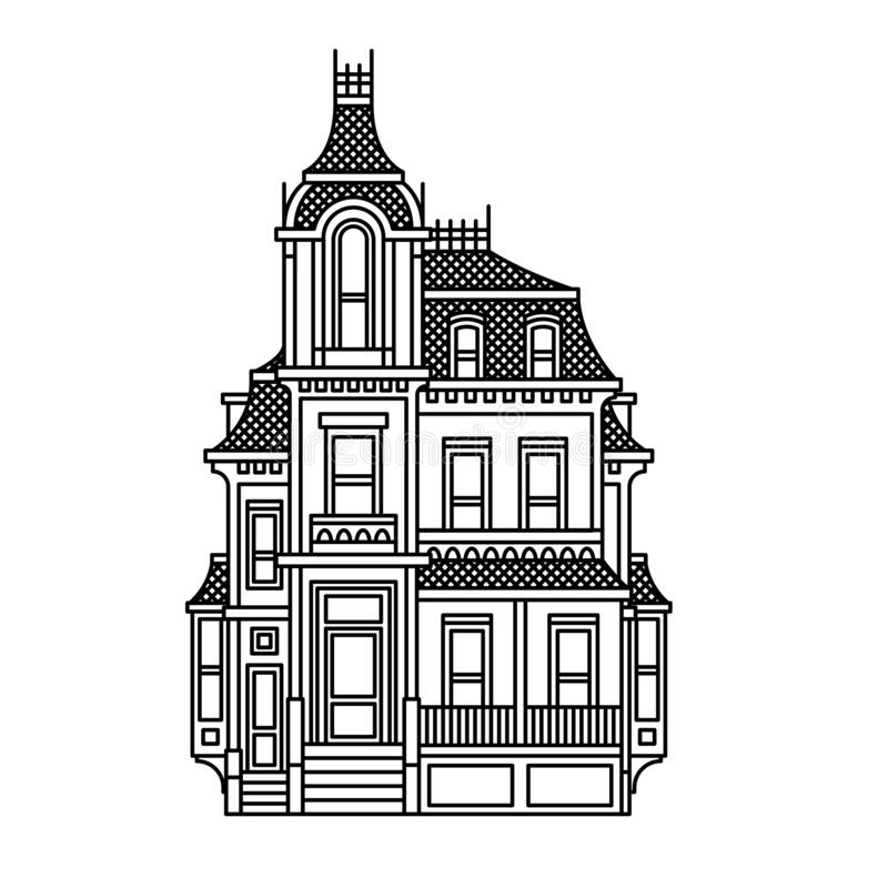 Free Beautiful Victorian House. Simple Black And White Vector Drawing Stock Photos - 182710303