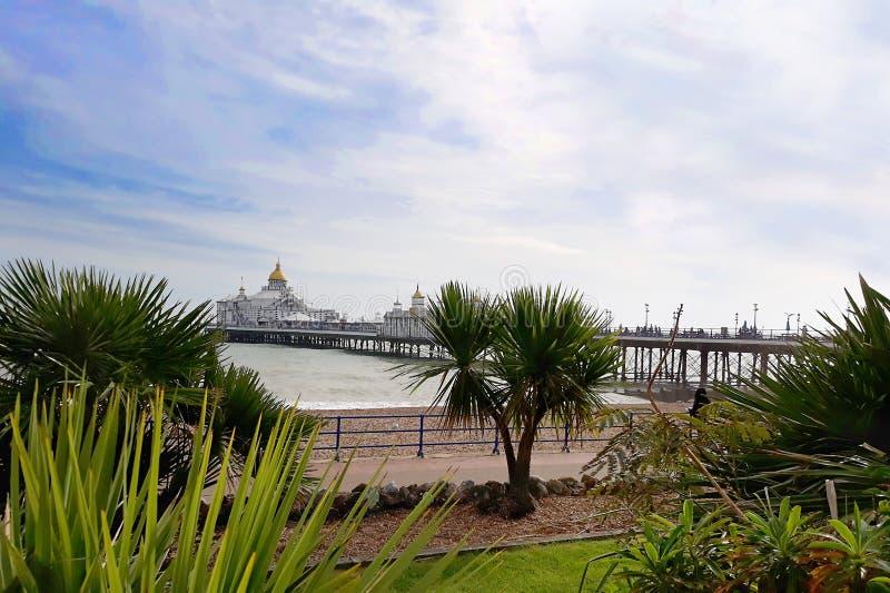 Beautiful Victorian pier seen from garden. stock images