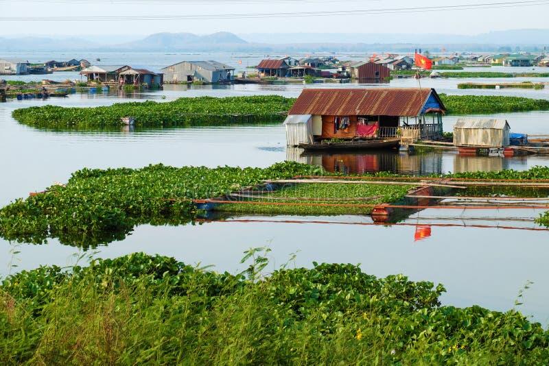 Beautiful Vietnamese fishing village on Dong Nai river, floating house, fishing tank, water hyacinth 免版税库存照片