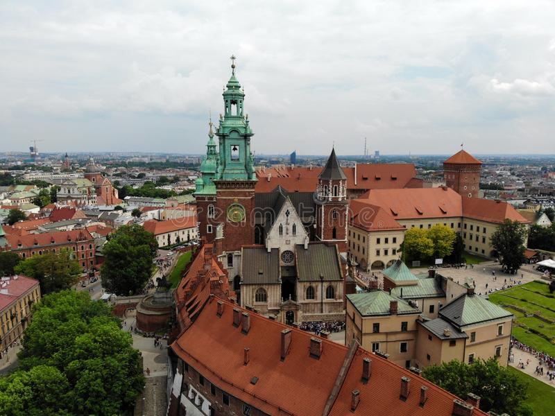 Beautiful view from above. Great view on the Wawel castle, the pearl of old part of Krakow city. Poland, Europe. Drone photography stock photo
