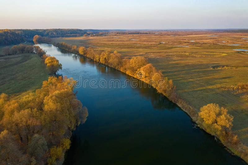 Beautiful view from above over a natural park. River spill, and amazing landscape. stock photos