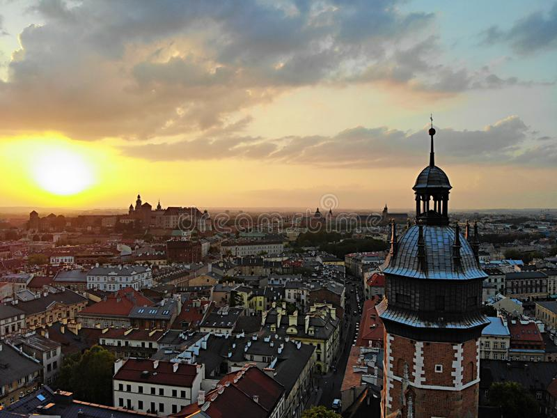 Beautiful view from above. Sunset photo captured in the old part of Krakow city. Poland, Europe. Drone photography. Created by Dro royalty free stock image