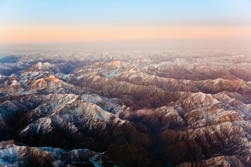 Beautiful view from the aircraft to the mountains in Tashkent, c stock photo