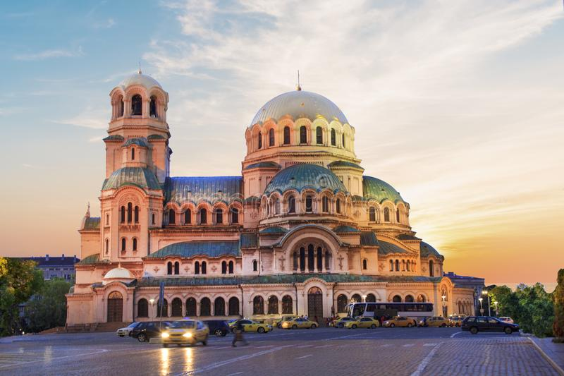 A beautiful view of the Alexander Nevsky Cathedral in Sofia, Bulgaria. On a sunny day royalty free stock image