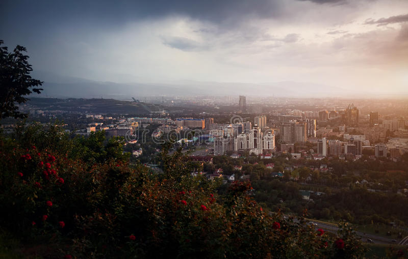 Beautiful view of Almaty city from Koktobe stock images