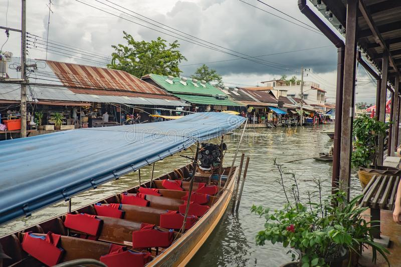 Beautiful view from Amphawa Floating market in holiday time. Amphawa Floating market is very Famous Street food travel destination in thailand stock photography