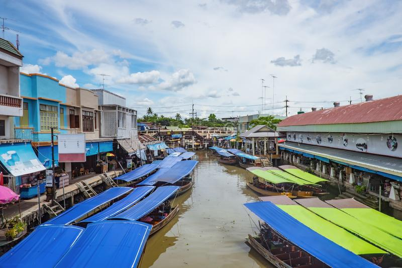 Beautiful view from Amphawa Floating market in holiday time. Amphawa Floating market is very Famous Street food travel destination in thailand stock images